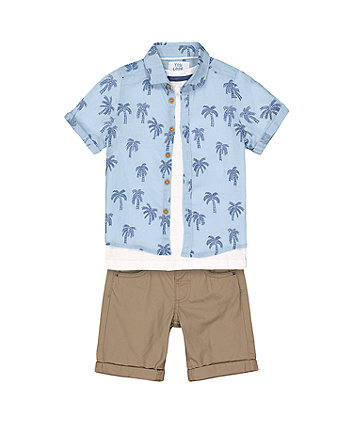 Mothercare Palm Tree Shirt, T-Shirt And Short Set