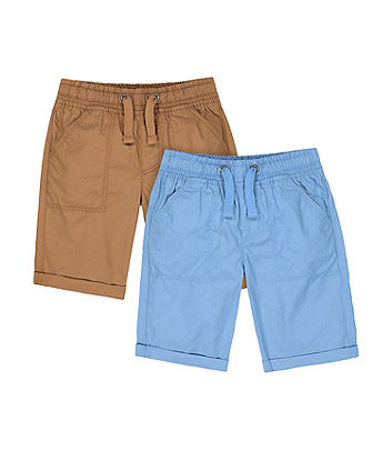 Mothercare Fashion Caramel And Blue Poplin Shorts - 2 Pack