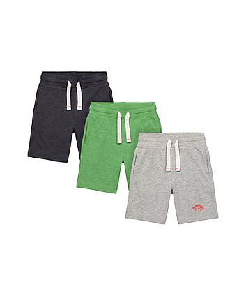Mothercare Green And Grey Dinosaur Shorts - 3 Pack