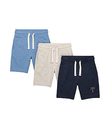 Mothercare Navy, Blue And Grey Palm Tree Shorts - 3 Pack