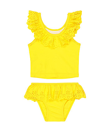 Mothercare Yellow Broderie Tankini
