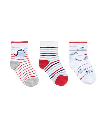 Mothercare Fashion Dino Stripe Socks - 3 Pack