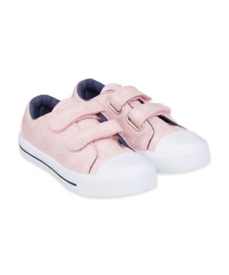 Mothercare Pink Broderie Canvas Trainers