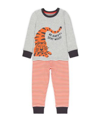 Mothercare Grey And Orange Happy Tiger Pyjamas