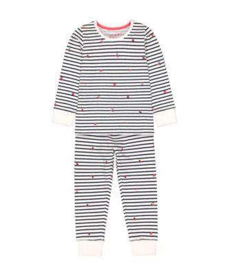 Mothercare Cherry And Ladybird Stripe Pyjamas