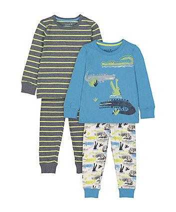 Mothercare Fashion Crocodile And Stripe Pyjamas - 2 Pack