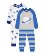 Mothercare Stripe And Star Pyjamas - 2 Pack