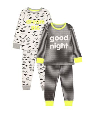 Mothercare Stripe Good Night And Cloud Dream Big Pyjamas - 2 Pack