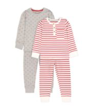 Mothercare Stripe And Star Pyjamas - 2 Pack