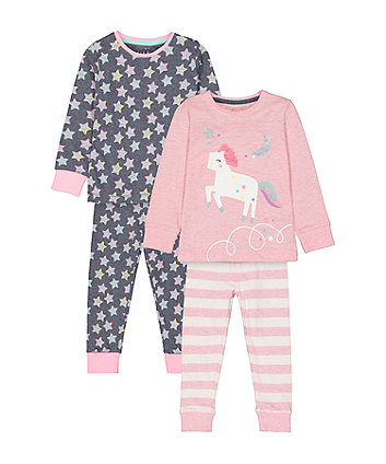 Mothercare Pink Unicorn And Navy Star Pyjamas - 2 Pack
