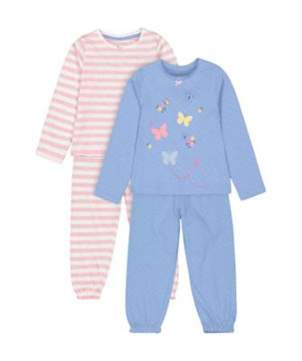 Mothercare Blue Butterfly And Pink Stripe Wide-Leg Pyjamas - 2 Pack