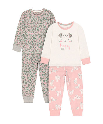 Mothercare Cat Nap And Leopard Print Pyjamas - 2 Pack