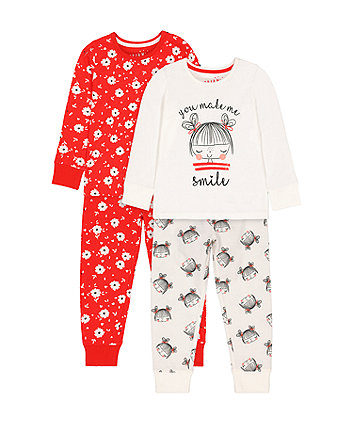 Mothercare Red Floral And Girl Smile Pyjamas - 2 Pack