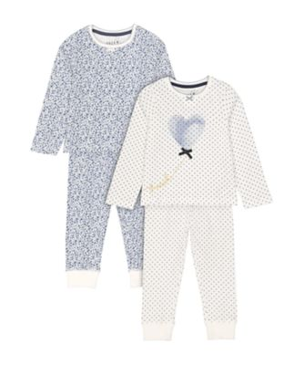 Mothercare White Heart And Navy Floral Pyjamas - 2 Pack