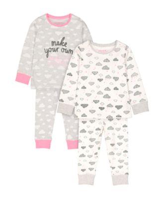 Mothercare Magic Clouds Pyjamas - 2 Pack
