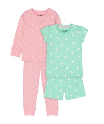 Mothercare Bunny And Spot Shortie & Pyjamas Set - 2 Pack