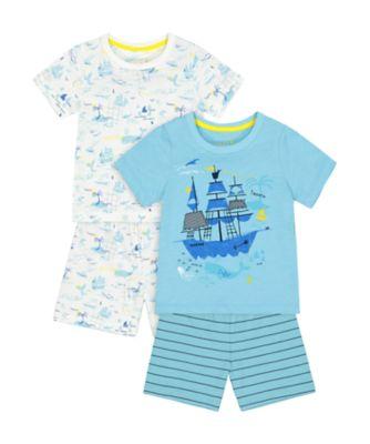 Mothercare Pirate Ship Shortie Pyjamas - 2 Pack
