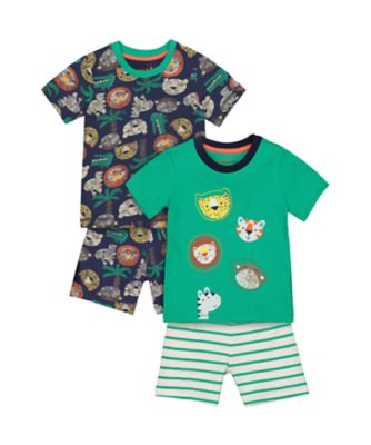 Mothercare Safari Animal Shortie Pyjamas - 2 Pack