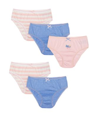 Mothercare Pink And Blue Butterfly, Spot And Stripe Briefs - 5 Pack