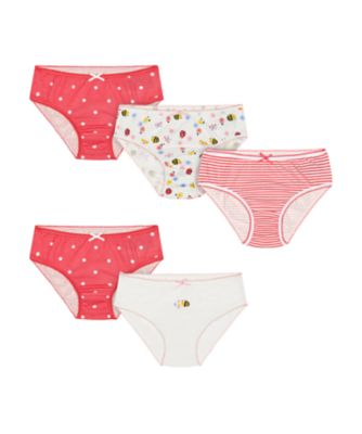 Mothercare Floral Bee, Spot And Stripe Briefs - 5 Pack