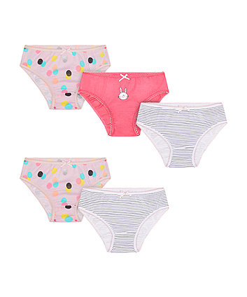 Mothercare Multicolour Bunny, Spot And Stripe Briefs - 5 Pack