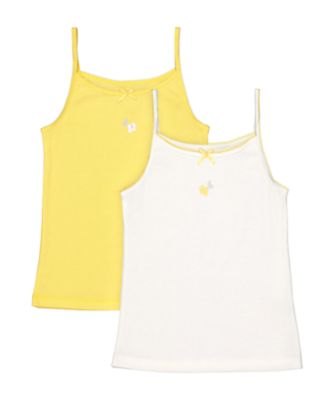 Mothercare Lemon And White Flower Cami Vests - 2 Pack