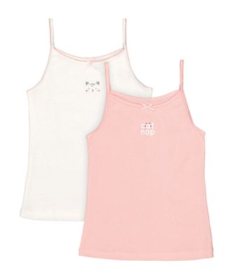 Mothercare Pink And White Cat Nap Cami Vests - 2 Pack