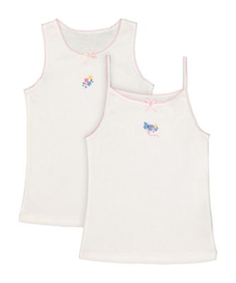 Mothercare White Butterfly And Flower Cami And Vests - 2 Pack