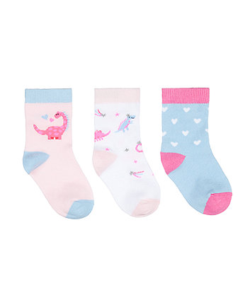 Mothercare Pink Dino Socks - 3 Pack