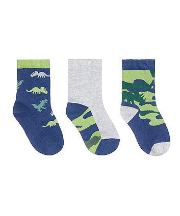 Mothercare Fashion Camo Dino Socks - 3 Pack