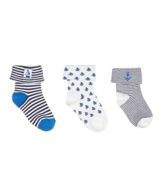 Mothercare Sailor Turn-Over-Top Socks - 3 Pack