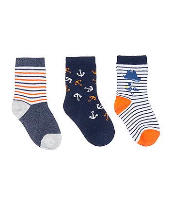 Mothercare Monkey Pirate Socks - 3 Pack