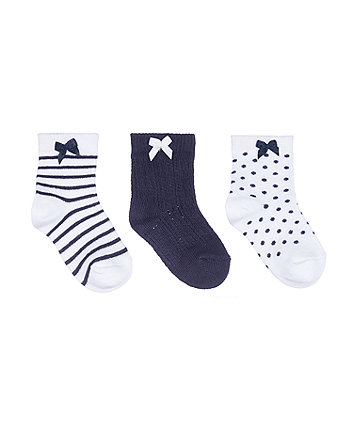 Mothercare Pretty Navy And White Bow Baby Socks - 3 Pairs