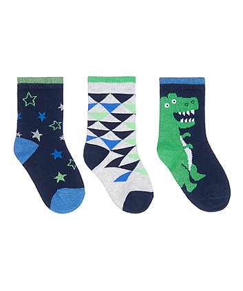 Mothercare Dino Socks - 3 Pack