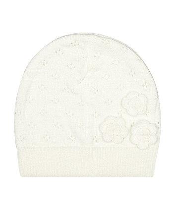 Mothercare Sparkly White Flower Pointelle Beanie Hat