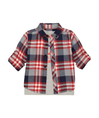 Mothercare MC61 Checkered Long Sleeve Shirt And Short Sleeve T-Shirt