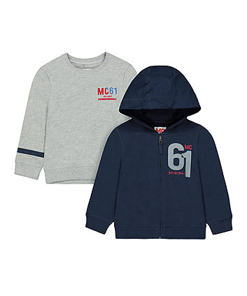 Mothercare Grey Sweat Top And Navy Hoody Set
