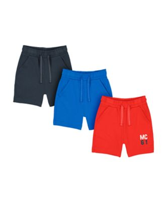 Mothercare MC61 Navy, Blue And Red Jersey Shorts - 3 Pack