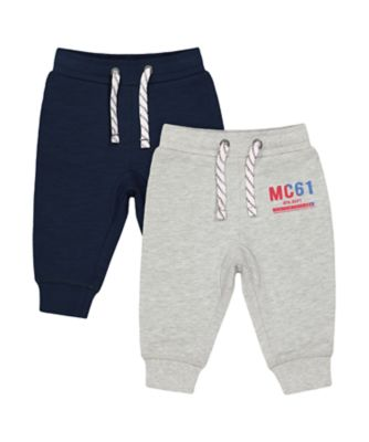 Mothercare MC61 Grey And Navy Joggers - 2 Pack