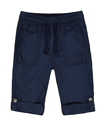 Mothercare Navy Poplin Roll-Up Trousers