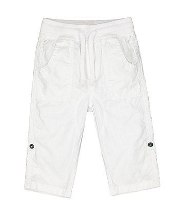 Mothercare White Poplin Roll-Up Trousers