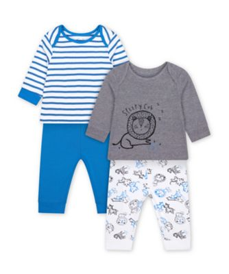 Mothercare Wild One Sleepy Lion Cub And Blue Stripe Pyjamas - 2 Pack