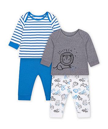 Mothercare Sleepy Lion Cub And Blue Stripe Pyjamas - 2 Pack
