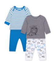 Mothercare Fashion Sleepy Lion Cub And Blue Stripe Pyjamas - 2 Pack
