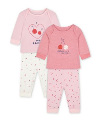 Mothercare Pink Mummy And Daddy Cherry Heart Pyjamas - 2 Pack