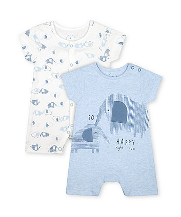 Mothercare White And Blue Elephant Rompers - 2 Pack