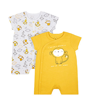 Mothercare Monkey Rompers - 2 Pack