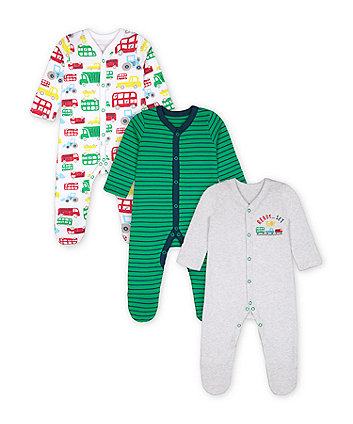 Mothercare Ready, Set Go! Sleepsuits - 3 Pack