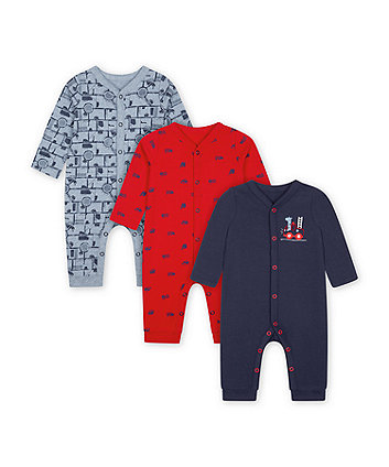 Mothercare Road Trip Footless Sleepsuits - 3 Pack
