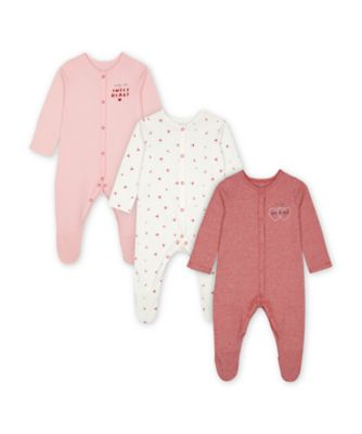Mothercare Girls Mummy & Daddy Cherry Print, White And Red Sleepsuits - 3 Pack